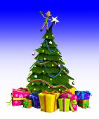 stock photo of cheeky  - Cheeky Elf that is on top of a Christmas tree - JPG
