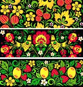 Patterns in traditional russian style Hohloma