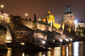 Charles Bridge In Prague, Nightview
