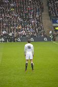 TWICKENHAM LONDON - NOVEMBER 23: Toby Flood Prepares for penalty kick at England vs South Africa, England playing in white lose 16-15, at QBE Rugby Match on November 23, 2012 in Twickenham, England