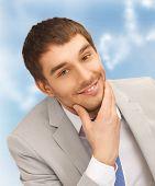 bright closeup portrait picture of happy businessman
