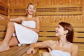 Two female friends chatting in a sauna