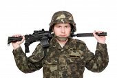 stock photo of m16  - Armed soldier with m16 on the shoulders - JPG