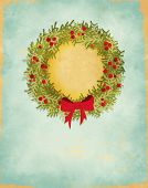 Winter Holidays Greeting Card - Hand drawn wreath with a bow framing a cutout, with plenty of copy s