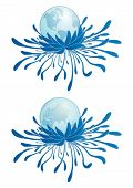 foto of eastern hemisphere  - abstract vector illustration of the earth and chrysanthemum - JPG