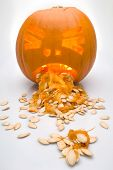 stock photo of puke  - This image shows a halloween pumpkin puking its guts out - JPG