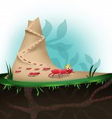 stock photo of fire ant  - A royalty ant leads an army of ants in the anthill - JPG