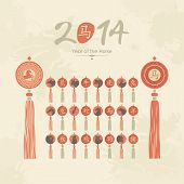 image of rabbit year  - Chinese calendar tassels set with zodiac signs and pictograms - JPG