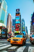 Yellow Taxis At Times Square In New York City