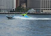 Shark Speedboat in New York Harbor