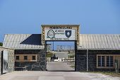 ROBBEN ISLAND IN CAPE TOWN, SOUTH AFRICA - 22 MAY 2013 - Welcome Sign 1