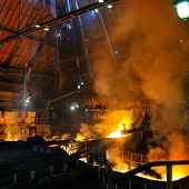 red-hot molten steel in iron and steel enterprise