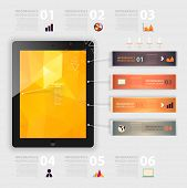 Business infographic template. Mobile phones technology. Diagrams and icons set. Numbered banners. M
