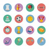 stock photo of ping pong  - set of flat sport icons - JPG