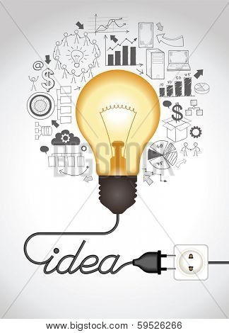 Concept Of Productive Business Ideas Lightbulb With Drawing Graphics Around Lamp Is Plugged Cable Forms A Word Idea The File Saved In Version