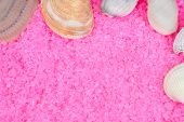 Clam shells and sea shells on pink bath salts