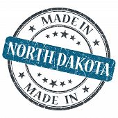 Made In North Dakota Blue Round Grunge Isolated Stamp