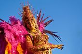 Sesimbra, Portugal - February 12, 2013: Brazilian Samba dancer in full costume parading in the Float