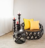 Metal Sofa With Yellow Pillow