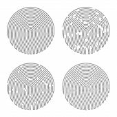 picture of fingerprint  - Black Isolated Fingerprint on White Background - JPG