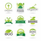 Ecology, organic, farm icon set. Eco-icons