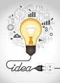 Concept of productive business ideas. Lightbulb with drawing graphics around. Lamp is plugged. Cable