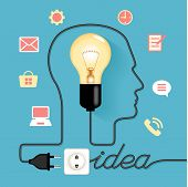 Profile of human head with  lightbulb, icons,  plug, socket, text. Concept of business idea. Lamp is plugged. Cable forms a word idea. . This image contains transparency.