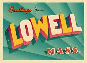 Vintage Touristic Greeting Card - Lowell, Massachusetts - Vector EPS10. Grunge effects can be easily