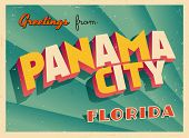 Vintage Touristic Greeting Card - Panama City, Florida - Vector EPS10. Grunge effects can be easily removed for a brand new, clean sign.