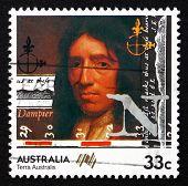 Postage Stamp Australia 1985 William Dampier, British Explorer