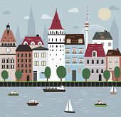 City on the river. Vector