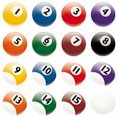 All pool Billiards Balls isolated on white. Change just one global color swatch of bottom reflex to adapt to any background.