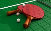 image of ping pong  - Ping pong paddles and balls on a background - JPG