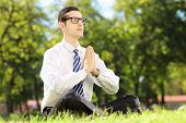 pic of stressless  - Young businessman doing yoga exercise seated on a grass in a park - JPG