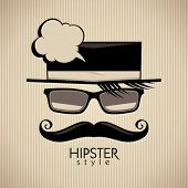 Hipster style vector background with mustached man and speech bubble.