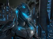 stock photo of armor suit  - 3d render of advanced super soldier character - JPG