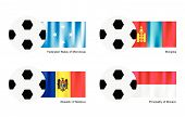 Soccer Ball With Micronesia, Mongolia, Moldova And Monaco Flag