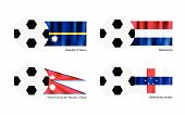 Soccer Ball With Nauru, Netherlands, Nepal And Netherlands Antilles Flag