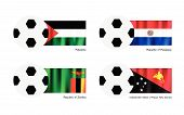 Football With Palestine, Paraguay, Zambia And Papua New Guinea Flag