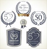 stock photo of laurel  - Anniversary Labels And Laurel - JPG