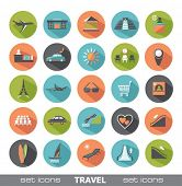 Set of modern flat icons. Travel.