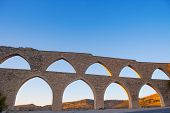 Morella aqueduct in Castellon Maestrazgo at Spain blue sky