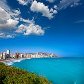 Benidorm Alicante beach buildings and Mediterranean sea of Spain