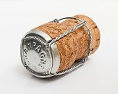 Champagne Cork On White