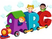 Illustration of Kids Riding in Train Coaches Shaped Like Letters of the Alphabet
