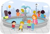Illustration of Kids Playing Around The Fountain While Their Parent Watches