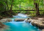 picture of cataract  - Erawan Waterfall Kanchanaburi western part of Thailand - JPG