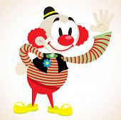 clown waving cartoon illustration
