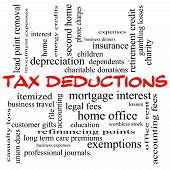 Tax Deductions Word Cloud Concept In Red Caps