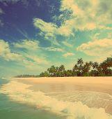 beautiful beach landscape in India - vintage retro style